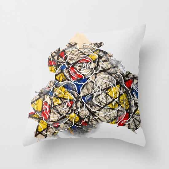 Primary Flowers Throw Pillow