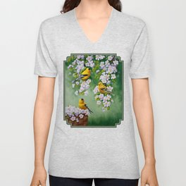 Goldfinches and Spring Apple Blossoms Unisex V-Neck