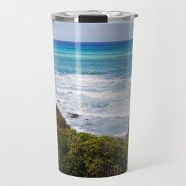Beautiful azure sea and the rocky beach, Tyrrhenian sea in Tuscany, Italy Travel Mug