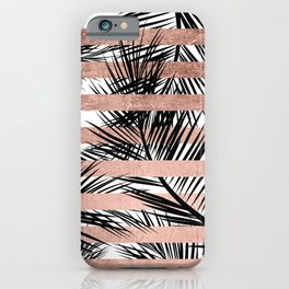 Trendy tropical palm trees chic rose gold stripes iPhone Case