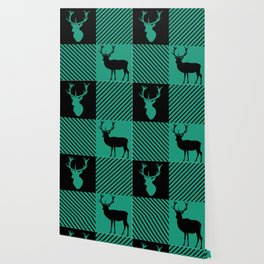 Hunters Green Wild Stag Buffalo Plaid Wallpaper