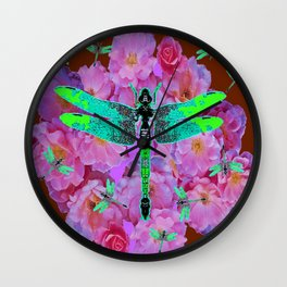 EMERALD DRAGONFLIES  PINK ROSES COFFEE BROWN Wall Clock