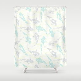 dotted koi shoal and yellow waves Shower Curtain