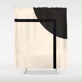 Fusion - Minimalist Geometric in Black and Almond Cream Shower Curtain