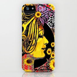 ART NOUVEAU GOLDEN SUNFLOWERS DAY iPhone Case