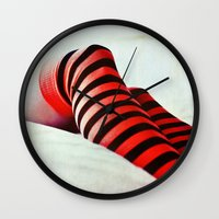 socks Wall Clocks featuring Stripy socks by Innershadow Photography