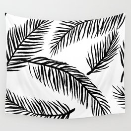 Black & White Palm Leaves Wall Tapestry