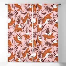 Vibrant Wilderness / Tigers on Pink Blackout Curtain