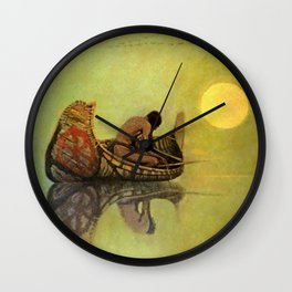 "N C Wyeth Vintage Western Painting ""Fishing Line"" Wall Clock"