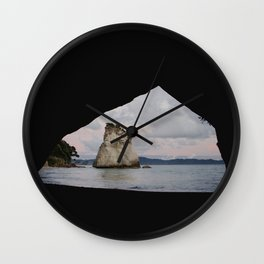 sunrise at cathedral cove Wall Clock