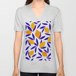 Blue and yellow Lemon Summery Pattern Unisex V-Neck