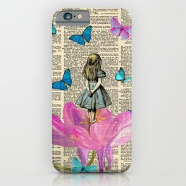 Wondering Alice - Vintage Dictionary Page iPhone Case