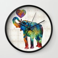 Colorful Elephant Art - Elovephant - By Sharon Cummings Wall Clock