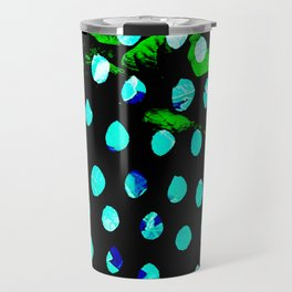 polka leaf blue Travel Mug