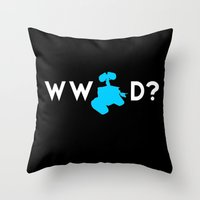pixar Throw Pillows featuring Pixar/Disney: What Would Wall-E Do? by InvaderDig