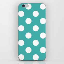 Large Polka Dots - White on Verdigris iPhone Skin