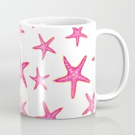 Summer pink neon watercolor gold starfish pattern Coffee Mug