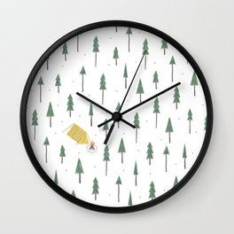 Camping in the woods Wall Clock