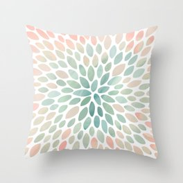 Floral Bloom, Abstract Watercolor, Coral, Peach, Green, Floral Prints Throw Pillow