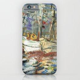 Kida Kinjiro - Going Fishing / Port Iwanai at Midday (1957) iPhone Case