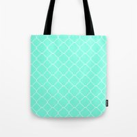 moroccan Tote Bags featuring Mint Moroccan by Beautiful Homes
