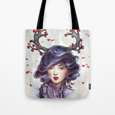 Woman with Antlers Tote Bag