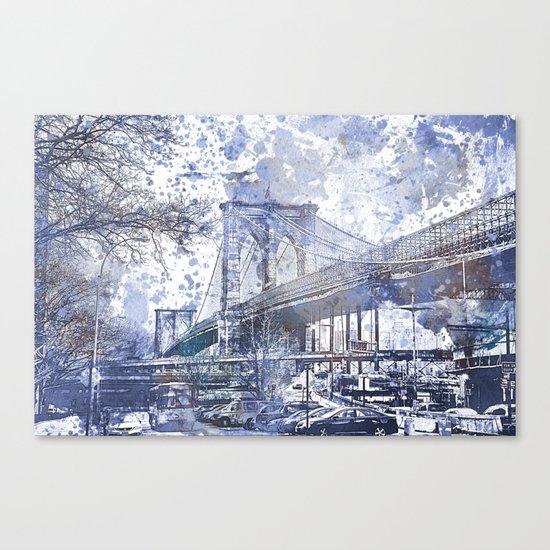 Brooklyn Bridge New York USA Watercolor blue Illustration Canvas Print
