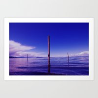 Blue Ocean Posts Art Print