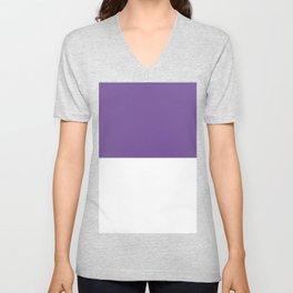 White and Dark Lavender Violet Horizontal Halves Unisex V-Neck