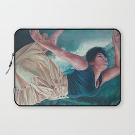 God's Orchestra, oil painting portrait of woman flying, lighthouse, dress, strong powerful woman Laptop Sleeve
