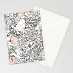 Seamless pattern design with hand drawn flowers and floral elements Stationery Cards