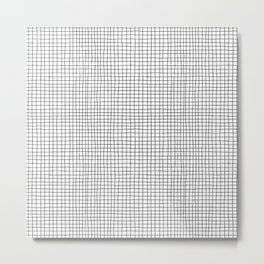 B&W Hand Drawn Grid Metal Print