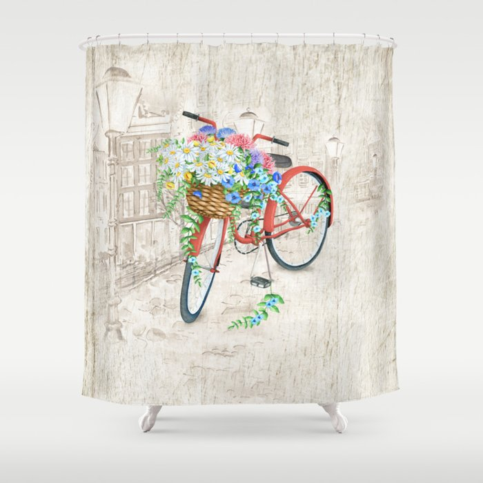 Vintage Red Bicycle with Flowers City Background Shower Curtain