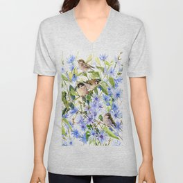 Sparrows and Chicory Flowers Unisex V-Neck