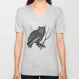 Great Cyclopean Owl - Black and White Unisex V-Neck