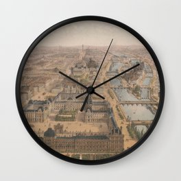 Vintage Paris & The Louvre Palace Map (1879) Wall Clock