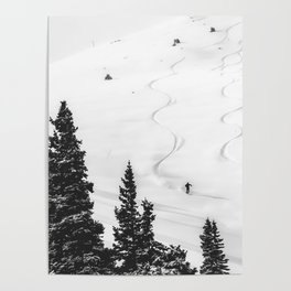 Backcountry Skier // Fresh Powder Snow Mountain Ski Landscape Black and White Photography Vibes Poster