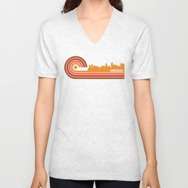 Retro Style Harrisburg Pennsylvania Skyline Unisex V-Neck