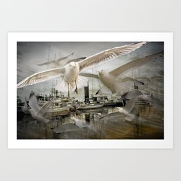 Gulls moving amidst Boats in a foggy harbor Art Print