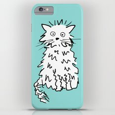 White cat blue Slim Case iPhone 6 Plus