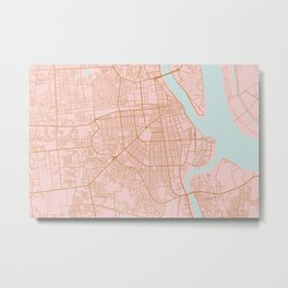 Pink and gold Phnom Penh map, Cambodia Metal Print