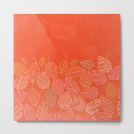 LEAVES ENSEMBLE ORANGE FLAME Metal Print