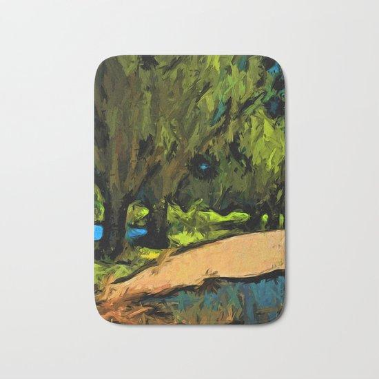 Trees along an Apricot Path Bath Mat