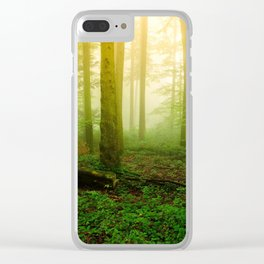 Misty Green Forest Photography Clear iPhone Case