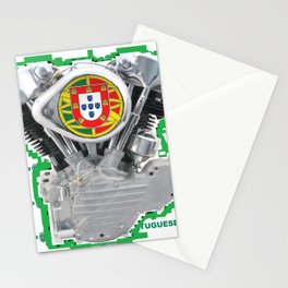 Portuguese Biker soccer fan. Stationery Cards