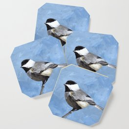 Chickadee Art, Blue Painting Coaster