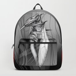 Kingfisher-1a. Black on white background-(Red eyes series) Backpack