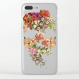 Skull Floral Decay Clear iPhone Case