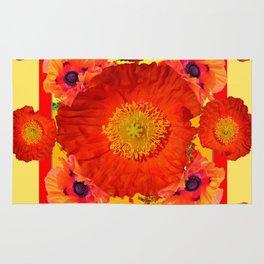 YELLOW-RED POPPIES GARDEN ART YELLOW PATTERNS Rug