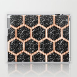 Black campari marble & copper honeycomb Laptop & iPad Skin